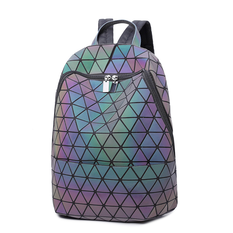 Japanese Women backpack bao bag Geometric cool backpack Luminous rhombus backpack