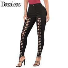 Bazaleas 2017 Sexy Lace Up Women Jeans Fashion Denim Jeans Women Bottom Hollow Out Bandage Casual Pants Capris