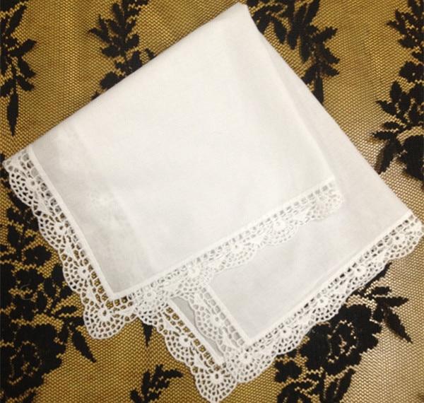 Set Of 36 Fashion Ladies Handkerchiefs 12-inch Cotton Lace Edging Wedding Bridal Handkerchief  Hankie Hanky For Bride Gifts