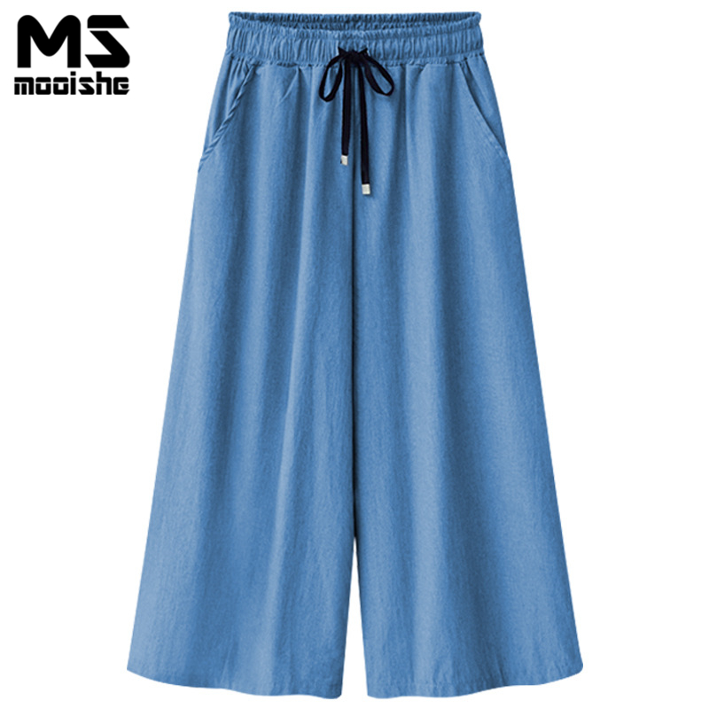 Mooishe Summer Wide Leg Jeans Capris For Women Elastic Hig Waist Cropped Drawstring Culottes Denim Pants Plus Size 6XL plus size side stripe wide leg blue capris jeans 4xl 7xl oversized tassel irregular fringe ankle length denim pants