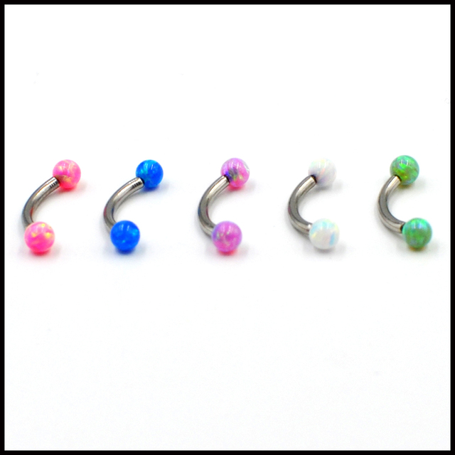 1PC Surgical Steel Internally Thread Opal Stone Eyebrow Ring&Lip Ring&CBR Opal Ball Septum Nose Ring Ear Tragus Piercing Earring 2