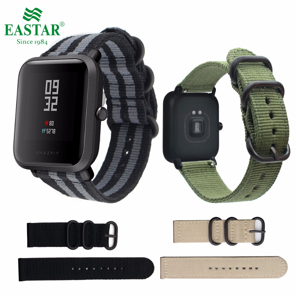 Eastar Colorful Nylon wristband for Xiaomi huami Amazfit Smart Watch Youth Edition Bip BIT PACE Lite band strap fitness bracelet умные часы huami amazfit bip youth edition оранжевый