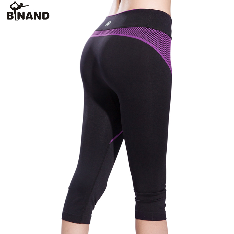 BINAND Females Mesh Patchwork Breathable Soft Sports Capris Tights Exercises Training Leggings Athletic Knee-length Yoga Pants