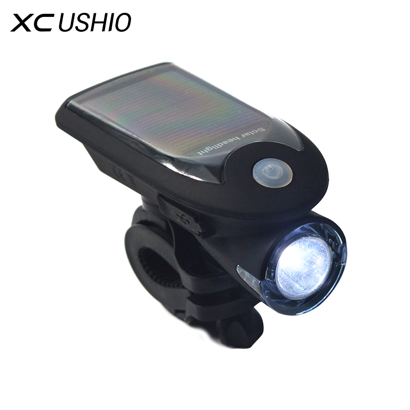 360 Degree Rotation Flashlight Waterproof Solar Bicycle Torch USB Charge Bike Cycling Front Headlight Bright Safety Warning купить в Москве 2019