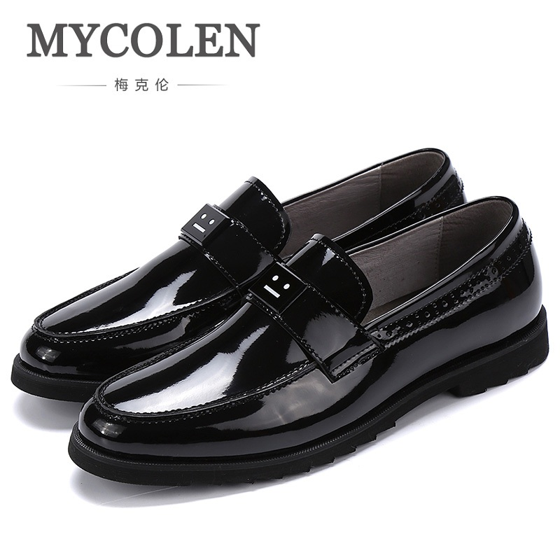 MYCOLEN New Design Top Real Leather Mens Formal Business Shoe Men Breathable Dress Shoes Thick Bottom Heren Schoenen Echt Leer choudory summer dress crocodile skin shoes men breathable prom shoes full grain leather pointy mens formal shoes shoe lasts