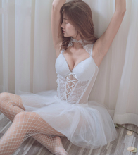 Evening Wedding Chiffon Dress Sweet Dream Sexy Lingerie Babydoll Nightgown White Gauze Transparent Sleeping Baby Doll Lingerie