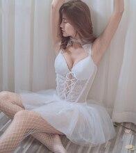 Vestido de chiffon, noite casamento, sonho doce, lingerie sexy, camisola, gaze branca, transparente, dormir, boneca do bebê