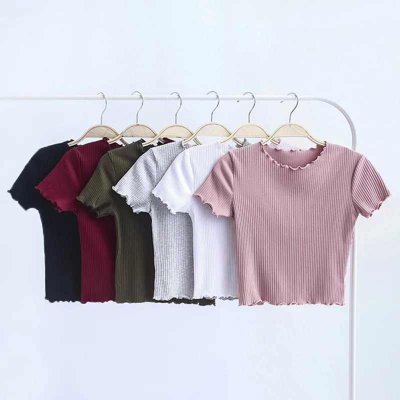 T-shirt a maniche corte con collo a O in legno Vintage 2018 T-shirt Slim Fit da donna nuova T-shirt attillata top retrò estivo 6 colori