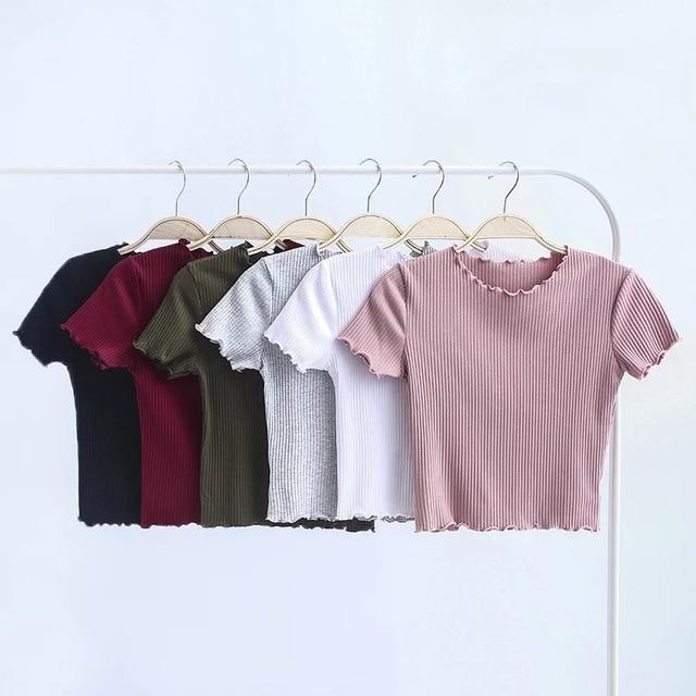 Gỗ cổ điển tai O cổ Ngắn tay áo T-Shirt 2018 Phụ Nữ Mới Mỏng Phù Hợp Với t áo sơ mi tee Mùa Hè Retro Tops 6 màu sắc