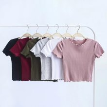 T-shirt a maniche corte con collo a O in legno Vintage 2018 T-shirt Slim Fit da donna nuova T-shirt attillata top retrò estivo 6 colori(China)