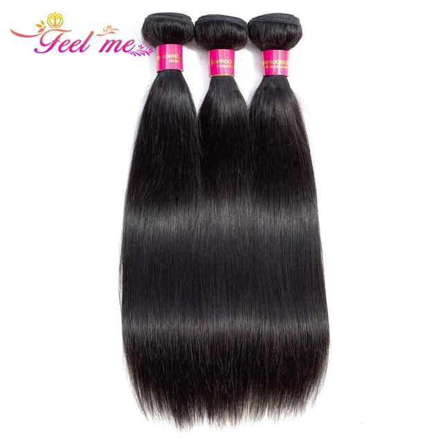 FEEL ME Peruvian Straight Hair Bundles 100% Human Hair Weave Bundles Natural Color Remy Hair Extensions Can Buy 1/3/4 Bundles