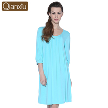 Qianxiu Nightskirt Women Knitted Three Quarter Sleepskirts&Nightdress Plus Size Nightgown