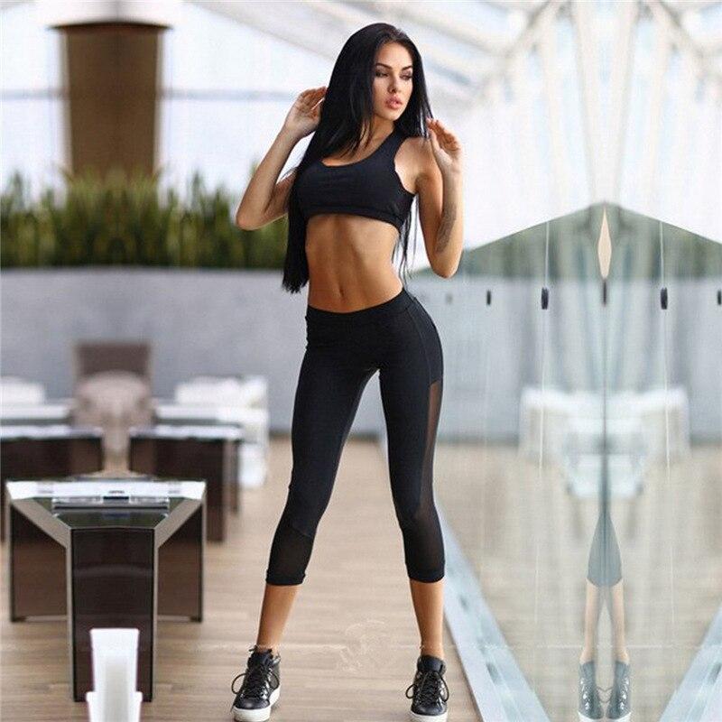 2016 Gym Mittler-kalb Frauen Fitness Leggings Aushöhlen Netz Elastischen Sport Leggings + Sport Bra Zurück Perspektive 2 Stück Set Eine Lange Historische Stellung Haben