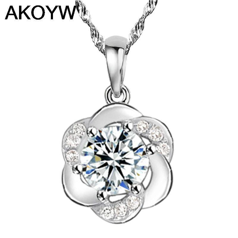 Silver plated pendant wild plum crystal jewelry lady ...