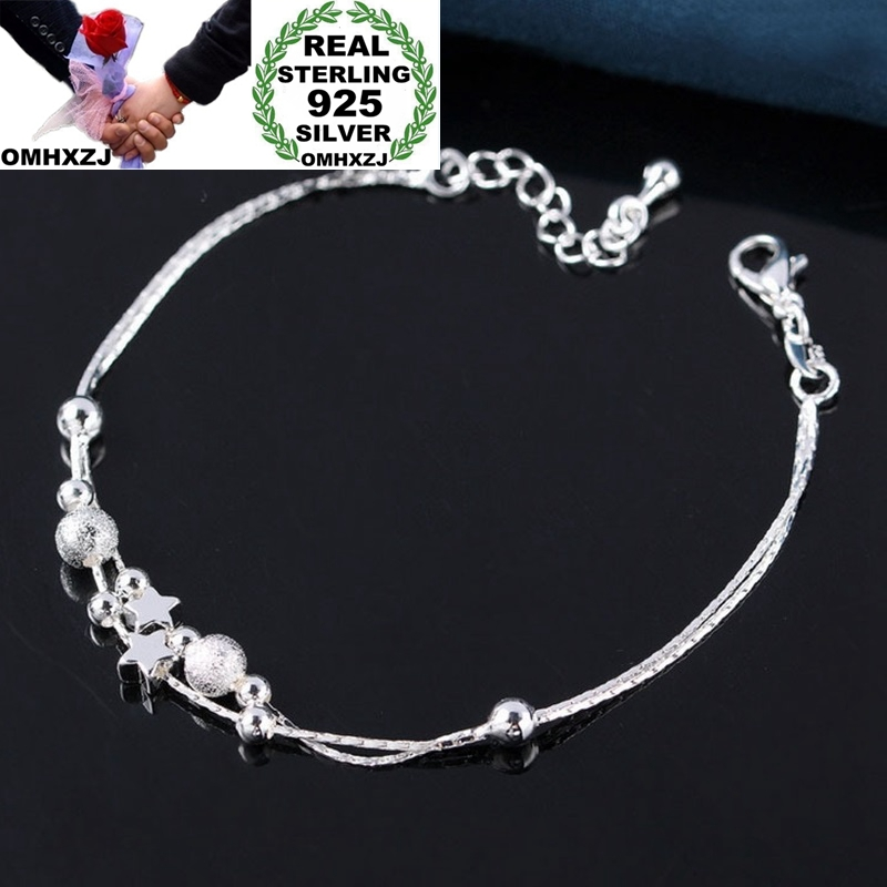 OMHXZJ Wholesale European Fashion Woman Girl Party Birthday Wedding Gift Two Layers Star Ball 925 Sterling Silver Anklet JA03