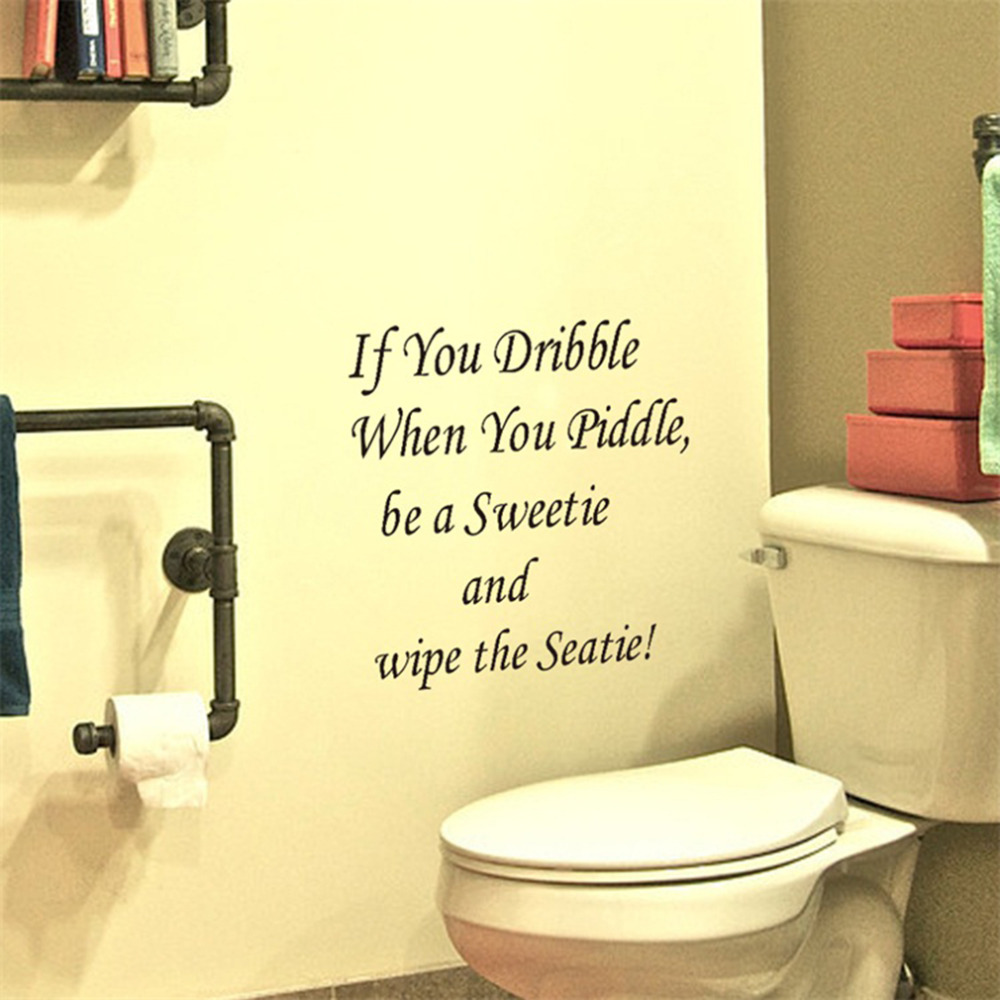 Wall art decals for bathroom - 1pc If You Dribble Toilet Seats Art Wall Stickers Quote Bathroom Decal Vinyl China