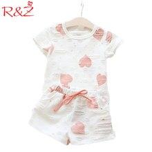 2017 new Casual Enfants Vêtements Bébé Filles Vêtements Définit Été Coeur Imprimé Fille Tops Shirt + Shorts de Costumes Enfants vêtements