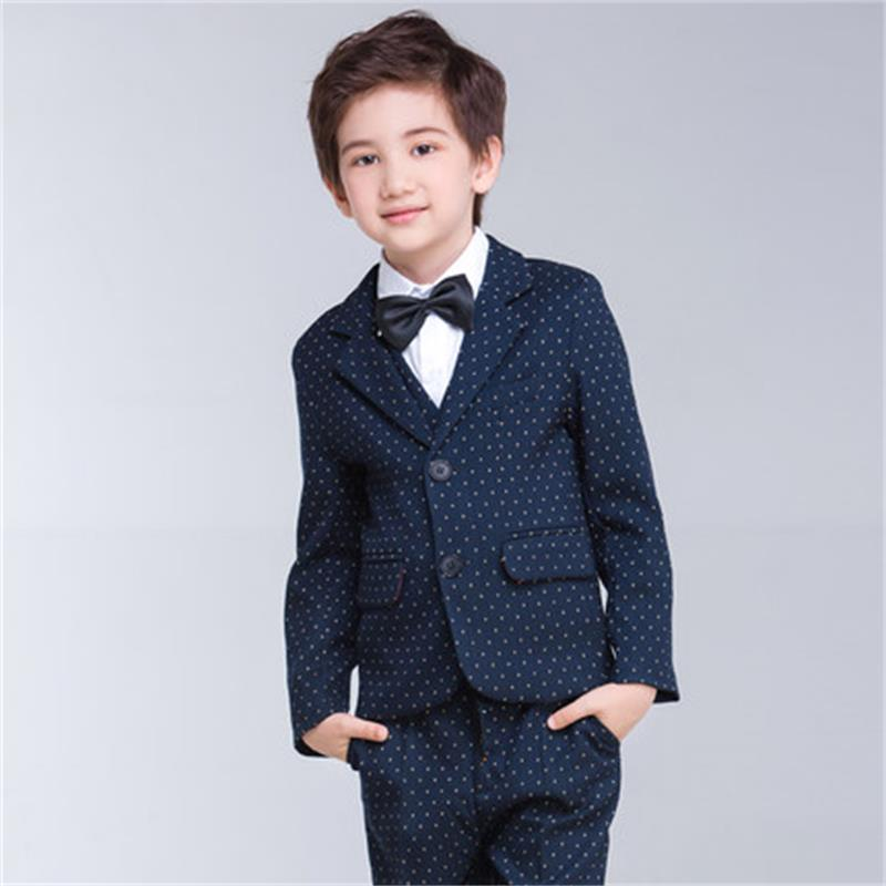 Korean version of the children's suit suit flower girl coat host boy dress baby child suit boy autumn kimocat boy and girl high quality spring autumn children s cowboy suit version of the big boy cherry embroidery jeans two suits