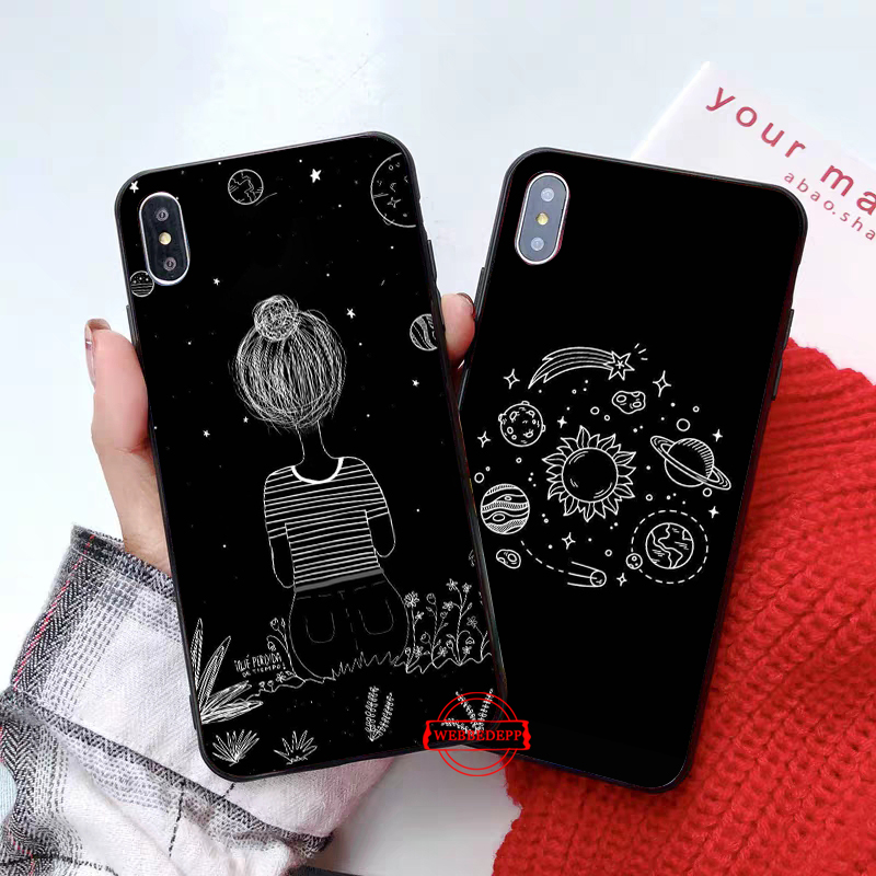 WEBBEDEPP Cartoon Moon Stars Planet Silicone soft Case for iPhone 5 SE 5S 6 6S Plus 7 8 X XS Max XR in Fitted Cases from Cellphones Telecommunications