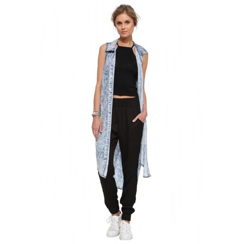 2017 womens summer fashion long shirts sleeveless blue Denim Blouses bow solid sexy slim tops casual streetwear girls clothing
