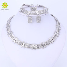 New Charms Silver Plated Rhinestone Necklace Bracelet Earring Rings For Women Bridal Wedding African Jewelry Sets