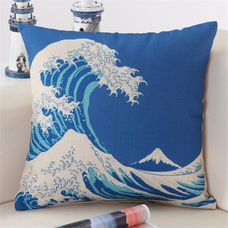 Love & happiness cushion set ocean wave printing decoration office children bed meditation cushion lunch break pillowcase brand
