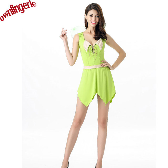 Sexy Christmas Tinkerbell Garden Fairy Female halloween Costume woodland fairy dress Green elf Spirit Cosplay Costume  sc 1 st  AliExpress.com & Sexy Christmas Tinkerbell Garden Fairy Female halloween Costume ...