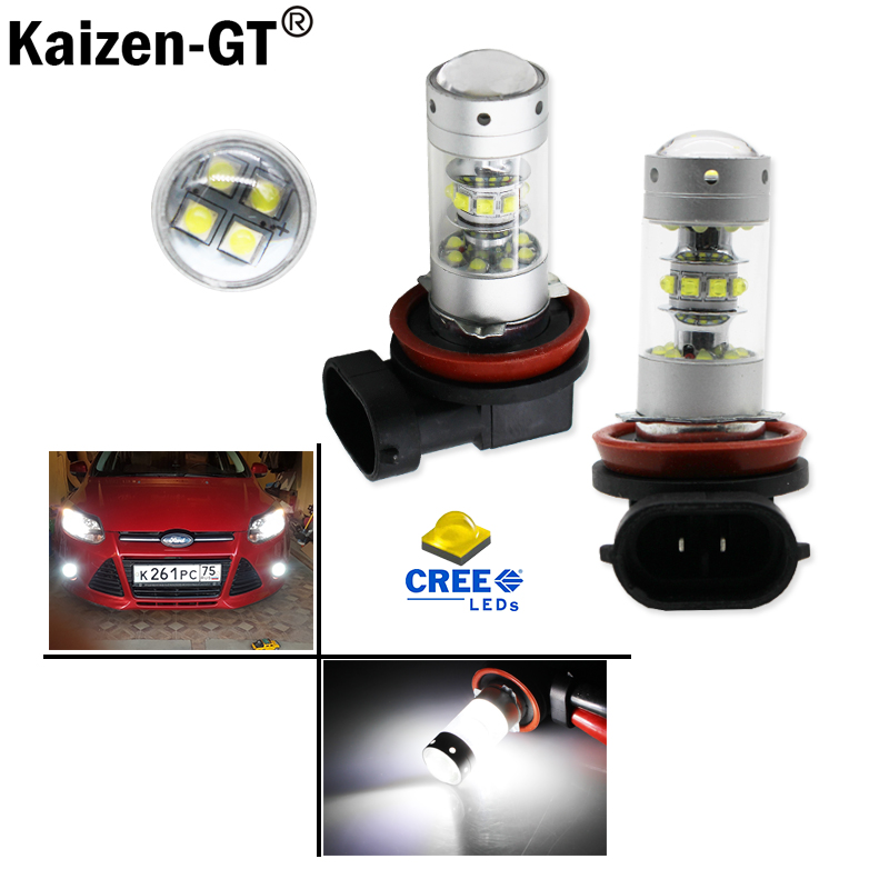 2pcs Extremely Bright High Power H11 H8 H9 H16 LED Lights For car Fog Lamps or Driving Light Replacement Upgrade,6000K white 12v 2pcs high power super bright 6000k xenon white cree xb d h8 h11 led replacement bulbs for fog light driving lamps
