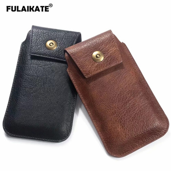 FULAIKATE 4.7-6.5″ Striae Waist Bag for Mobile Phone Universal Pouch Portable Pocket for iPhone Xs Max Case Men's Business Bags