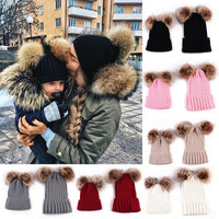 2PCS Mom And Baby Newborn Baby Hats For Girls Knit Wool Pom Bobble Hat Kids Girls