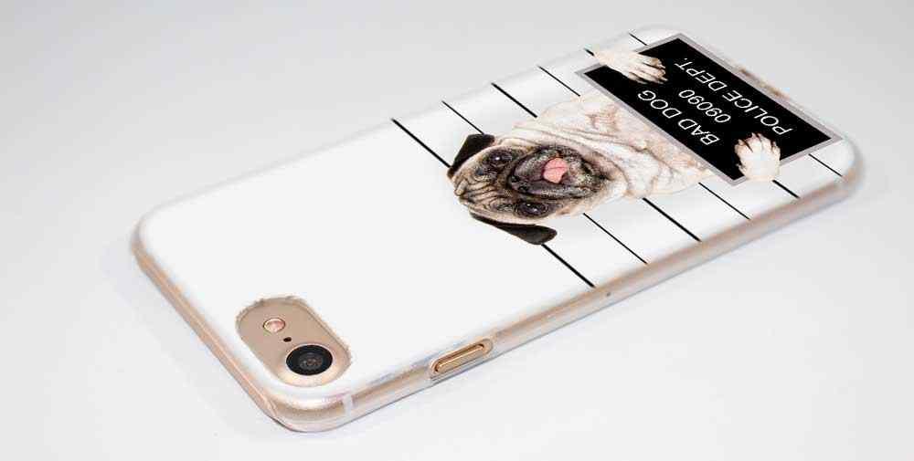 Pluspug cão moda transparente caso capa para iphone xi r 2019 xs max xr x 4S 5S se 6s 7 8 plus