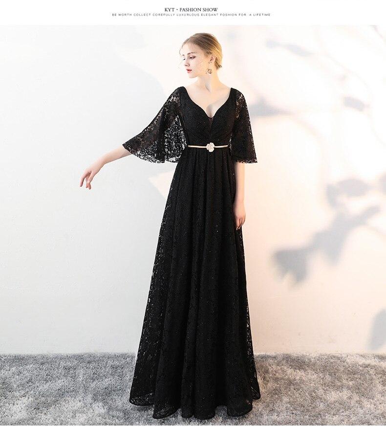 a1e178689b25 WeiYin Custom Made Elegant V-Neck Black Winter Evening Dresses Lac...