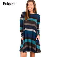 2019 spring Autumn Warm Wool Dress Women  Cross Stripe A-Line Loose Boho Casual Ladies Long Sleeve Printed