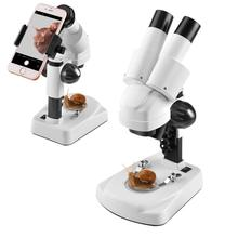 Kids Beginner Stereo Microscope Science Kit 20X-40X Compound LED Light Source Binoculars Lab Microscope with a Phone Adapter student compound microscope amscope supplies 40x 1000x glass optics metal frame student compound microscope slides
