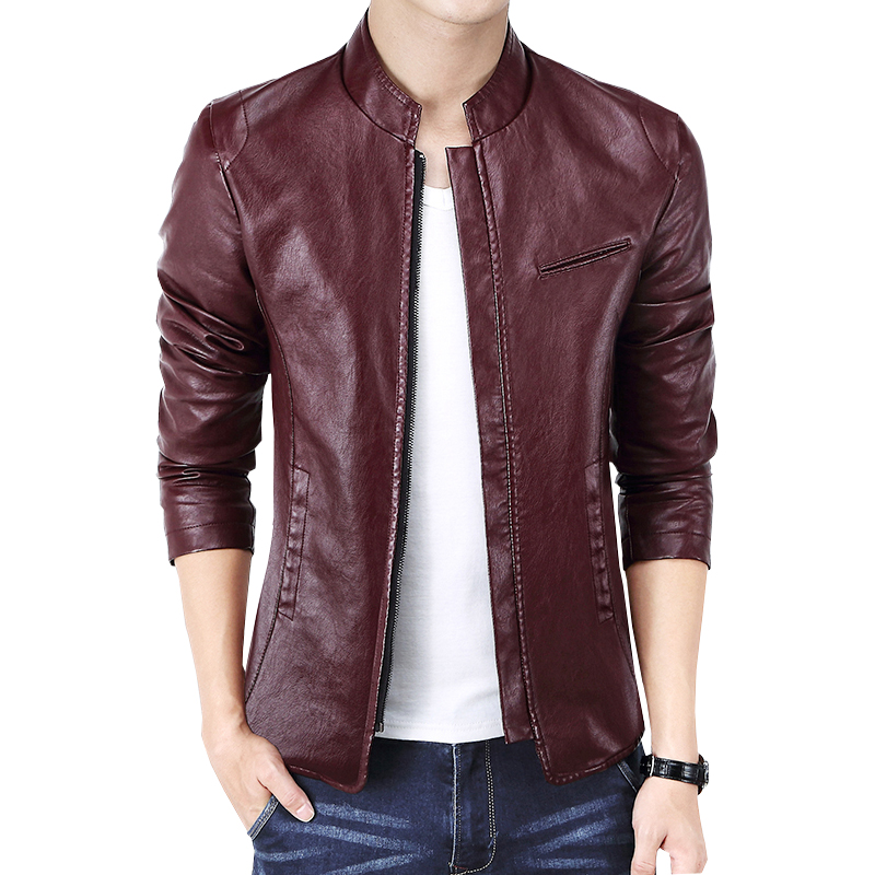 Nouvelle marque hommes vestes en cuir PU veste Punk rouge en cuir vestes Zipper hommes Chupas De Cuero Hombre