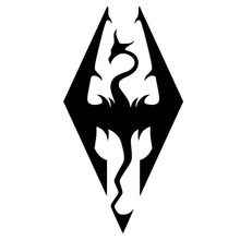 6.5cm*12.5cm Skyrim Style Art Dragon Vinyl Car Stickers Motorcycle Decal Black/Silver S6-3054