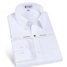 Men's Wrinkle-Free Solid Twill Dress Shirt Front Pocket Reversible cuffs Male Business Slim Cut Version White Work Office Shirts