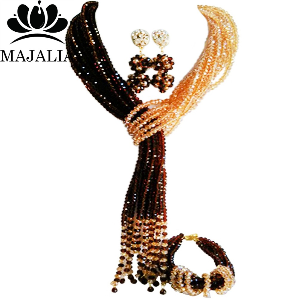 Majalia Classic Nigerian Wedding African Jewelery Set Brown and Gold ab Crystal Necklace Bride Jewelry Sets Free Shipping 8JU026