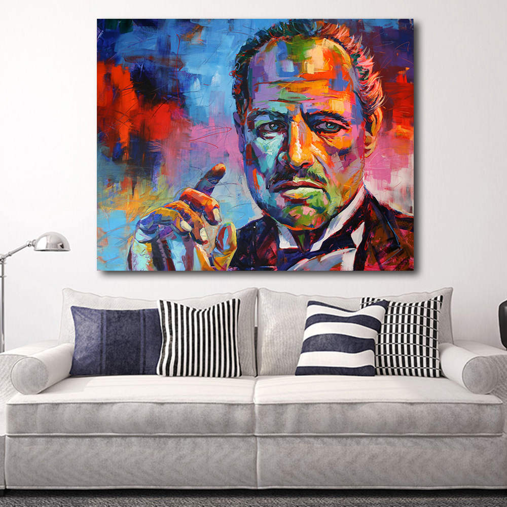 HDARTISAN Figure Painting Colorful Godfather Modern Canvas Art Wall ...