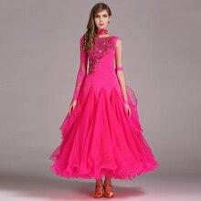8 cores de lantejoulas vestidos de dança de salão padrão vestido de roupas Competição de dança de salão padrão vestido da dança valsa foxtrot(China)