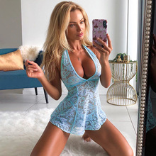 Sexy Backless Halter Short Mini A Line Lace Dress Women Deep V Low Cut Hollow Transparent Dresses Erotic Slips Nightclub Tops low cut lace halter backless teddy
