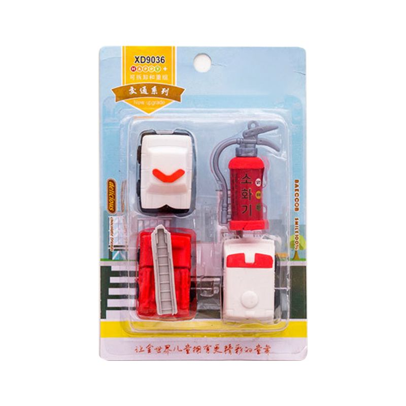 4pcs/set Fire Truck Extinguisher Rubber Eraser Kawaii Stationery School Supplies Correction Student Kids Gifts