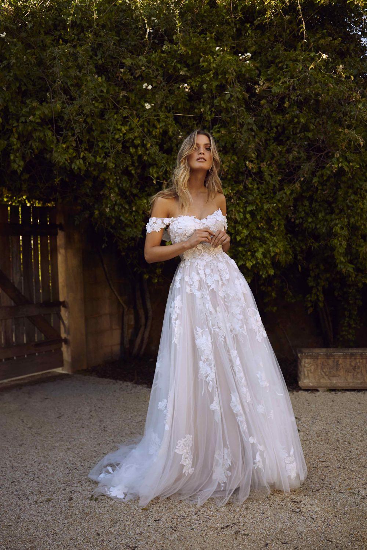 2019 Eslieb min querida tribunal trem do vestido de casamento fora do ombro custom made de alta qualidade bonita do laço de vestido de noiva HA070