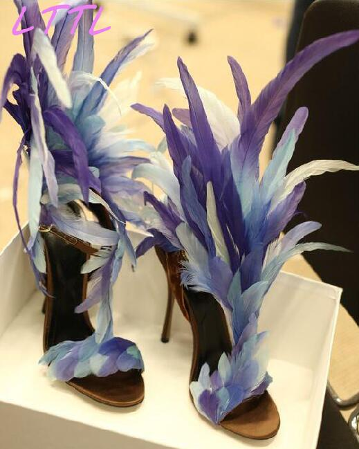 Summer New Fashion Blue/Purple Feather Straps Women Open Toe Sandals Sexy T-Strap Ankle Buckle Ladies High Heels Size42 new ankle strap open toe high heels sexy ladies shoe women summer gold silver black sequins leather sexy sandals shoes smybk 022