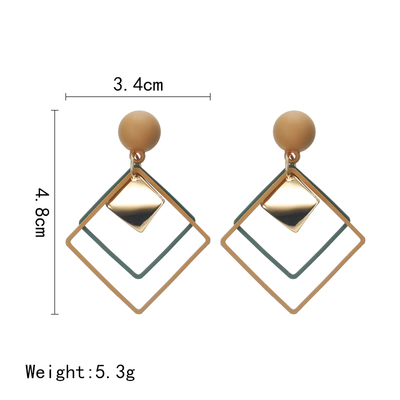 Simple Style Fashion Silver Gold Color Earrings for Women Square Round Geometric Hanging Earrings 18 Female Pendientes Jewelry 2