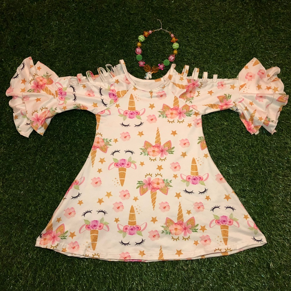 2018 new fashion mini dress in unicorn pattern with children necklace for twin sisters girl summer dress ruffle dress outfits hormonal key players for obesity in children with down syndrome