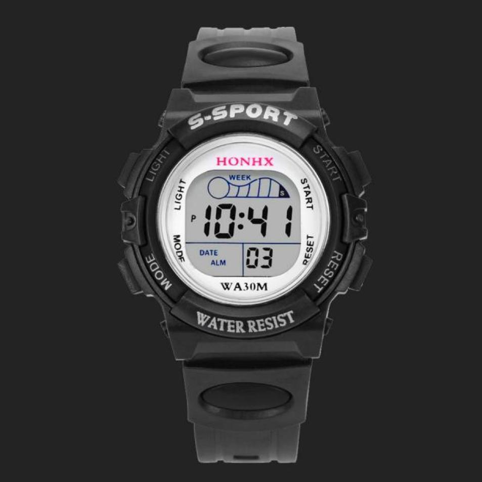 HONHX Sport Men Watch Waterproof Digital LED Watch Kids Alarm Date Watch Gift Military Hours Clock Colorful Erkek Kol Saati alarm clock robot kids gift