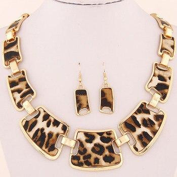 Kymyad Jewellery Sets Fashion Popular Elegant Punk Geometric Leopard Link Chain Necklace Earring Sets Fashion Women Accessories 1