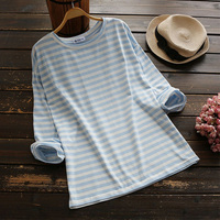 2017 Spring Women S Casual Sweet Loose Striped Round Collar Long Sleeve Cute Kawaii T Shirt