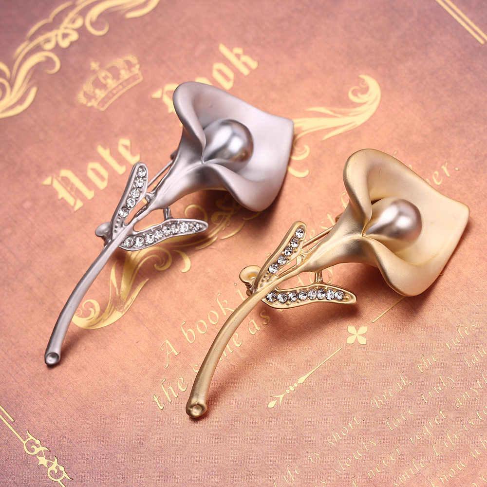 Kemuliaan Pagi Berlian Imitasi Wanita Pesona Bunga Kerah Bros Perak/Emas Mutiara Kristal Hadiah untuk Wanita Wanita Perhiasan Pernikahan Chic